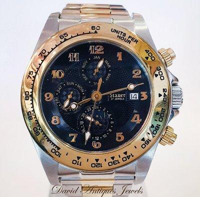 ((天堂鳥)) 新品刊登 STAUER CORSO 打鐵匠23378黑面半金多功能機械自動錶 /不二價