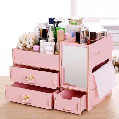 ♣生活職人♣【R46】木質桌面化妝收納盒 DIY 拼裝 置物 收納 分類 衛生紙 鏡子 多格 分層 創意