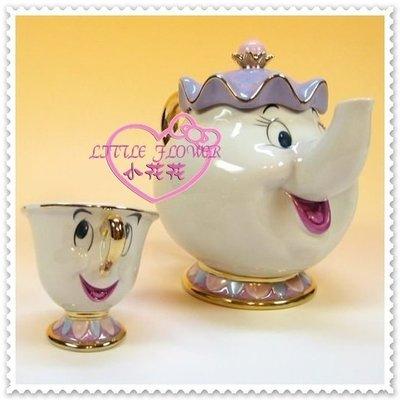 小公主日本精品 Hello Kitty 東京迪士尼美女與野獸 茶壺媽媽 茶壺杯子 茶杯具組77800800