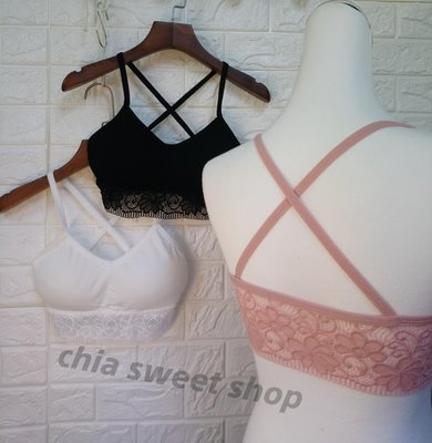 ☆Chia sweet shop☆現貨螺紋棉質花朵蕾絲背後交叉美背小可愛背心附可拆式罩杯