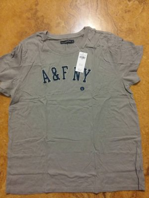 A&F 175/100A(L)(現貨,免運) 女生標誌圖案 T 恤-Ripped Logo Tee GREY
