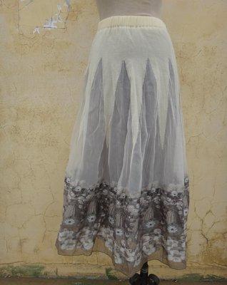 jacob00765100 ~ 正品 日本製 BLOWUP 米色 刺繡 長裙 size: 2