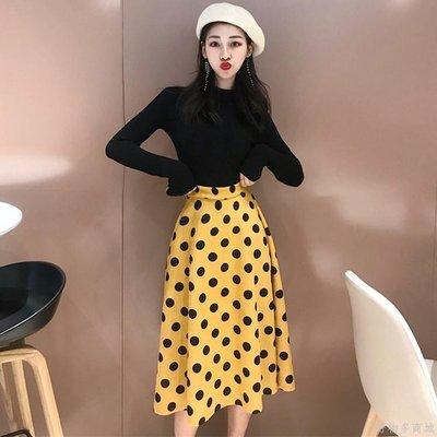 好物多商城 秋裝新款針織打底衫+仿鹿皮絨波點半身裙兩件套時尚套裝女裝