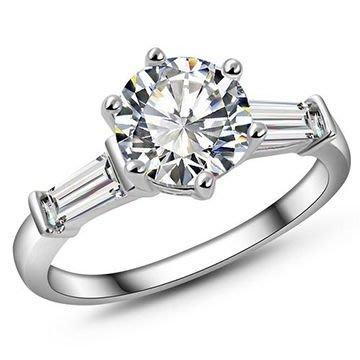 經典六爪925純銀戒指約80分擬真鑽+T鑽 訂婚 求婚 公主女神最愛~ 歐美經典款 ~ #現貨✽ 17 Glory ✽
