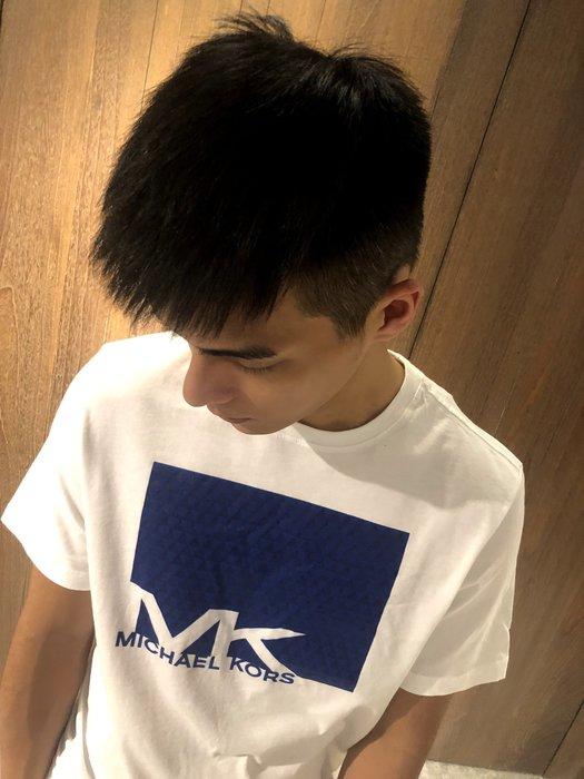 美國百分百【全新真品】Michael Kors 短袖T恤 MK 上衣 T-shirt 白色 logo 藍 S號 J213