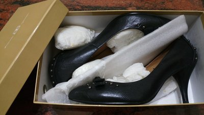 百貨專櫃 AS 黑色真皮高跟鞋.size 39 (24.5) (出清$1080含郵) AS