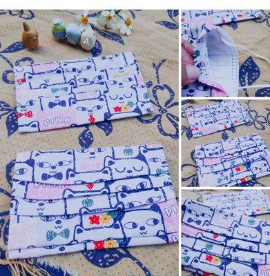 牛牛ㄉ媽*台灣製造 兒童款 日本布手作貓咪款 可替換 口罩布套 延長口罩使用時間 口罩套 吸濕排汗布 一般拋棄式立體口罩 平面口罩都可使用