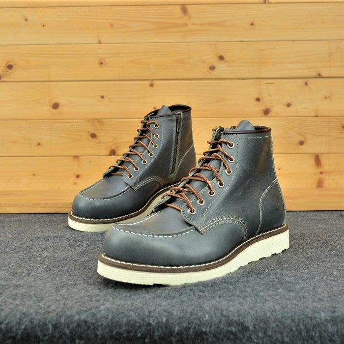 (拉鍊)固特異縫製 純橡膠防滑 厚底靴  (RED WING 875版型) 工作靴灰藍變色牛皮 AG真皮製造