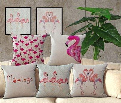 預購-火烈鳥Pillows 棉麻抱枕靠枕靠墊Cushion Cover Sofa Pillowcase 45X45CM