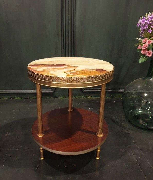 【卡卡頌 歐洲古董】法國老件 玉石  雙層 古典  圓茶几  ct0082 ✬