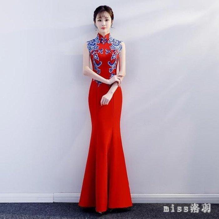 YEAHSHOP 魚尾晚禮服大尺碼新款秋季宴會中式立領顯瘦紅色長款緞面新娘敬酒服 9012Y185