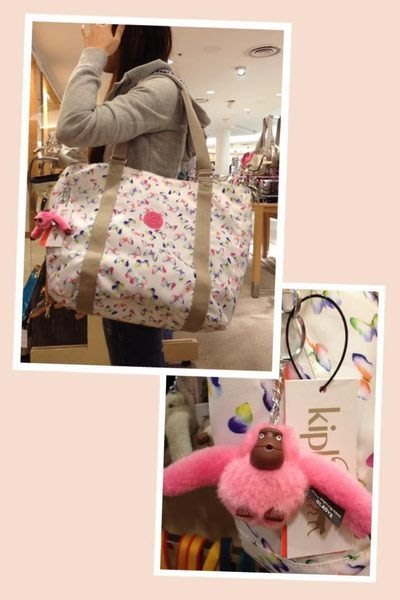 天使熊雜貨小舖~Kipling蝴蝶結大型包包~美國帶回大手提包 肩背包 ~原價7900
