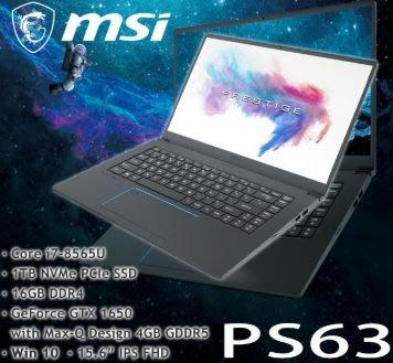 WOW!MSI微星 PS63 8SC-080TW(i7-8565U/16G/1TB SSD/GTX 1650
