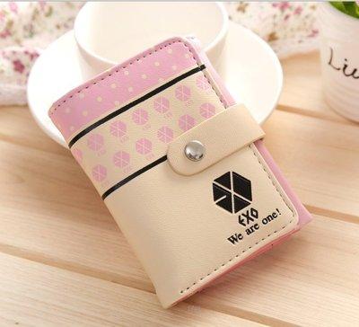 EXO同款 錢包 女短款 可爱 學生兩折錢包 少女皮夾(粉色)