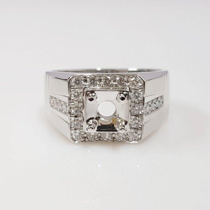全新品 鑽石空台 50~90分男用台 有色寶石皆可使用 585白K金鑽石材質 配鑽0.57ct 大眾當舖 編號5597