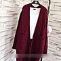 韓版學生針織中長款麻花口袋毛衣外套(酒紅色) J-12916