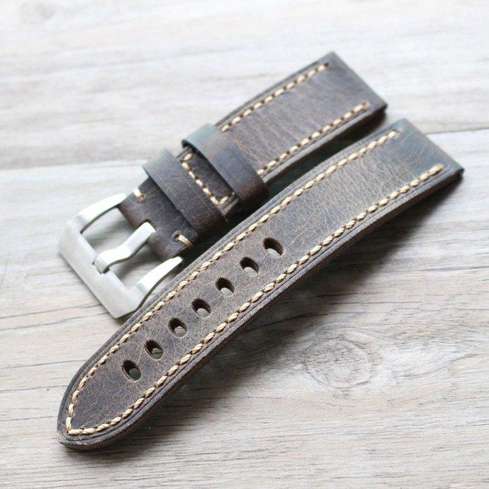 手錶配件 飾品 錶帶 錶扣 對折復古牛皮表帶20 22 24MM 26MM粗狂男軍表鏈 意大利瘋馬皮皮表