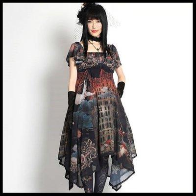 *MINI PUNK LOLO*歐洲中古世紀-闇之妖精ベルの塔をプリントしたシルエットもいローブ洋服(17-017)