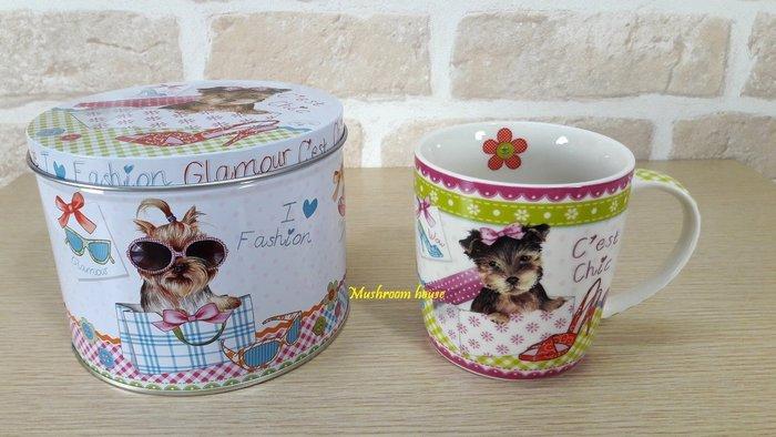 點點蘑菇屋 義大利Easy Life錫盒裝別緻時尚馬克杯 Mug 狗狗 格子 小花 鐵盒 水杯 杯子 禮盒裝 現貨