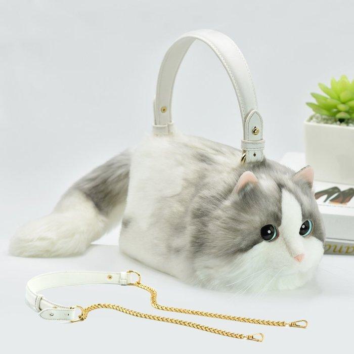 福福百貨~手工訂做貓咪包包斜挎包個性毛絨仿真貓貓手提包日本流行時尚包創意可愛小貓包單肩包~灰白色