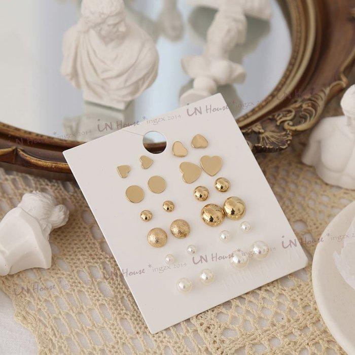 IN House*🇹🇼現貨 一套12對earring 耳環 氣質優雅 愛心 珍珠 磨砂金色耳飾 耳釘 一週耳環