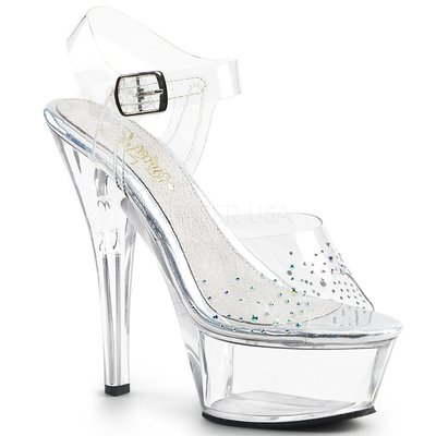 Shoes InStyle《六吋》美國品牌 PLEASER 原廠正品透明水鑽厚底高跟涼鞋  出清『白色』