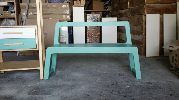 美生活館 全新 北歐風格 紐西蘭松木 全原木 靠背 雙人椅 情人椅 玄關椅 休閒椅 穿鞋椅藍綠色灰紫水藍色/白色 可選