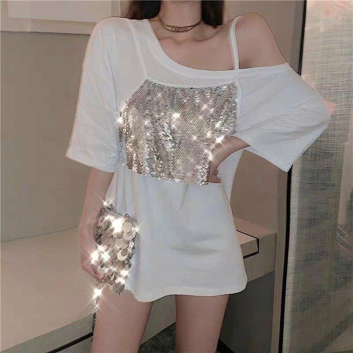 Qmi 2019夏季新款亮片吊帶拼接假兩件T恤露肩寬鬆短袖休閒上衣