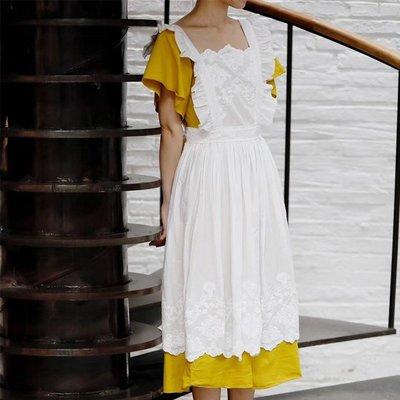 KK正韓女裝法式復古圍裙 法式宮廷花藝圍裙罩衣  刺繡木耳邊 烘培插畫家務工