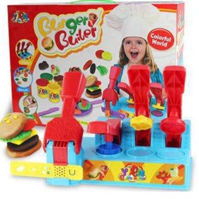 【晴晴百寶盒】漢堡彩泥 彩色多彩黏土桌遊 平價益智遊戲 扮家家酒玩具 生日禮物 送禮禮品 CP值高 平價促銷 A155