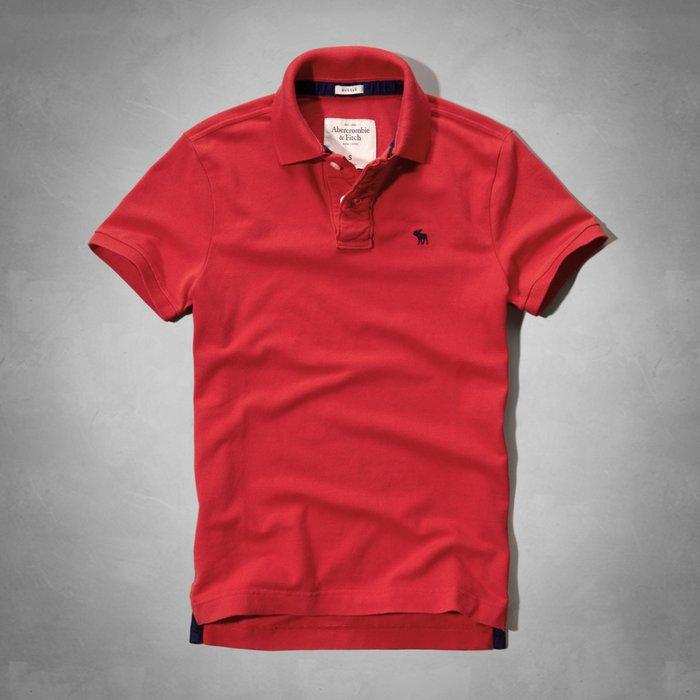 美國百分百【Abercrombie & Fitch】Polo衫 AF 短袖 麋鹿 男 素面 紅色 XXL號 C383
