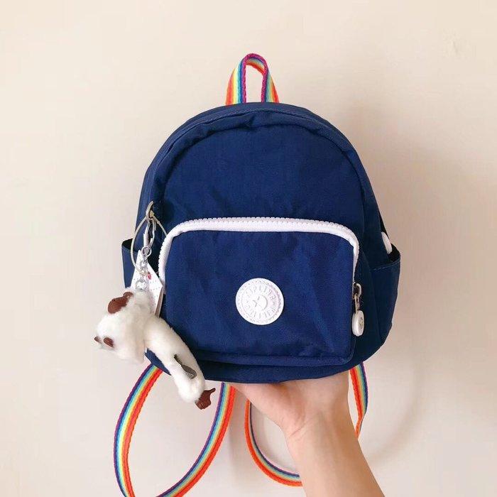 Kipling 猴子包 深藍拼彩虹背帶 mini 12673 多用肩背斜背輕量雙肩後背包 小號 防水 限時優惠