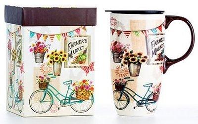 點點蘑菇屋{有蓋馬克杯}美國cypress陶瓷隨身杯-農夫市集 拿鐵杯 下午茶 水杯 附精緻紙盒 現貨