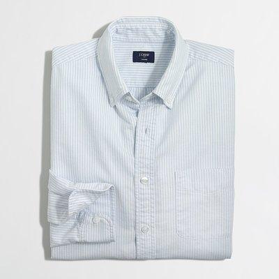 美國百分百【全新真品】J-Crew 牛津 襯衫 JC 長袖 上衣 條紋 雅痞 上班休閒 淺藍色 白色 M號 H030