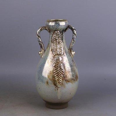 【三顧茅廬】唐代銀光窯金銀釉雙耳蒜頭瓶 出土文物古瓷器手工瓷古玩收藏擺件