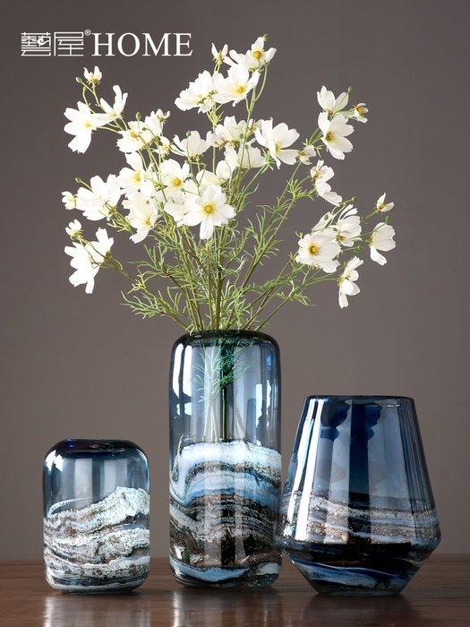 #創意 裝飾品 居家現代簡約玻璃花瓶擺件 創意家居客廳餐廳插花花器 樣板間軟裝擺設