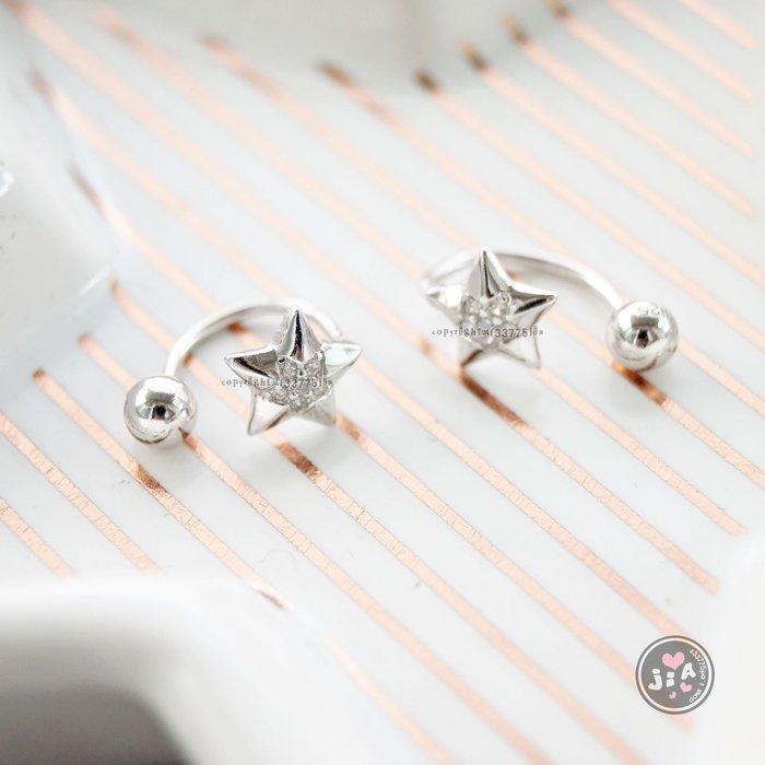 【Jia' s】立體星星五角星鋯石純銀耳夾耳環S925。正生純銀