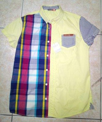 全新GIORDANO童裝,拼接風短袖襯衫~155CM