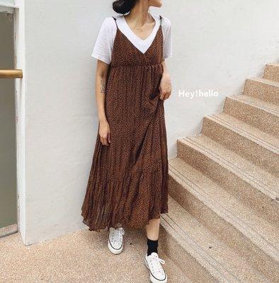 (現貨)韓國細肩帶豹紋雪紡長洋裝附半裏