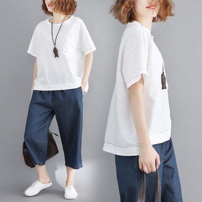 2019夏裝新款 女裝上衣服韓版寬鬆大尺碼女裝純色打底衫短袖白色T恤