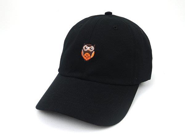 ☆二鹿帽飾☆ (貓頭鷹)立體棉質 老帽/流行棒球帽/休閒帽最新帽款/帽簷 7.5cm-黑色