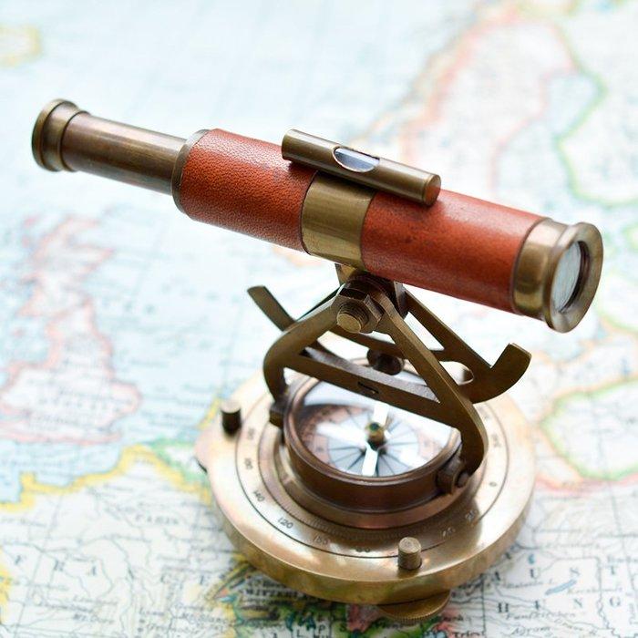 【睿智精品】歐式居家擺設 復古望遠鏡 指南針 樣品屋擺設 印度進口(GA-3665)