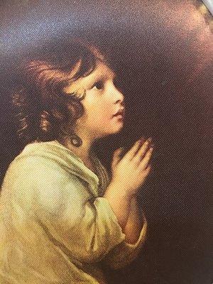 心靈深處-夢夢園現貨^^少女的祈禱 * 義大利進口印刷絲綢畫實雙色木框 22x16CM 😌inside of ur heart 💛