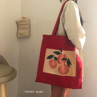 购物袋 水果橘子插畫百搭環保袋購物袋女單肩包帆布書包