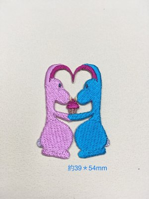 IANS 刺繡設計  兔子愛心---繡花貼布/繡花貼紙