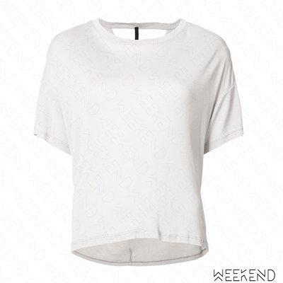 【WEEKEND】 UNRAVEL 背部挖空 露背 短袖 T恤 上衣 淺灰色 18春夏新款