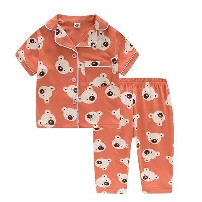 •*~ 辣媽咪衣飾小舖 ~*•❤童裝系列❤K950282韓版兒童夏款超可愛萌款『小橙熊』圖案家居服上衣+長褲二件套