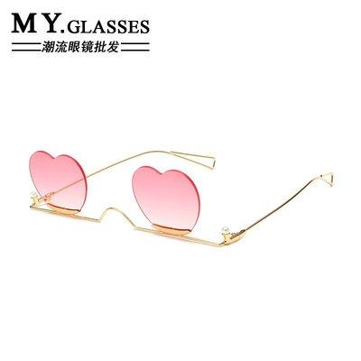 299起售-新款無框金屬心形粉色太陽鏡網女紅搞怪愛心珍珠鑲嵌墨鏡#墨鏡#飾品#百搭#太陽鏡