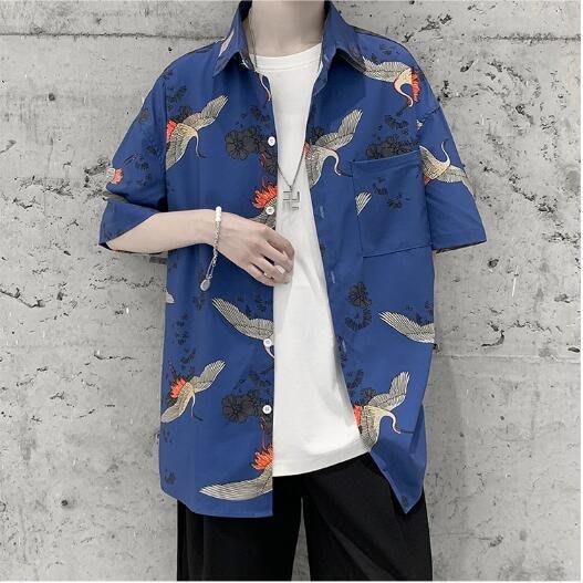 FINDSENSE X 男裝 痞帥 寬松 仙鶴 短袖 襯衫 塗鴉 花上衣 情侶 襯衣 襯衫
