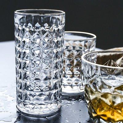 馬克杯 玻璃杯高腳杯啤酒杯牛奶杯高檔鉆面金邊玻璃水杯威士忌啤酒杯茶杯果汁杯甜品冷飲杯子